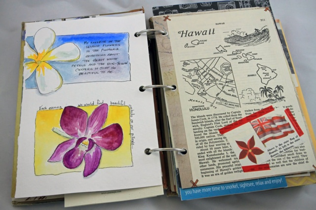 a couple of on-the-go watercolor sketches and some vintage book pages