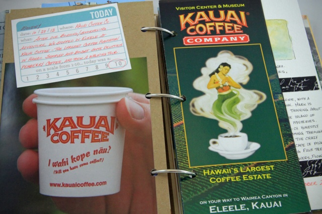 Kauai Coffee: my photo and a brochure from the plantation
